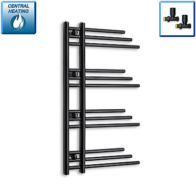 Black Fuji Designer Heated Towel Rail Designer Radiator 900 x 500 mm Bathroom