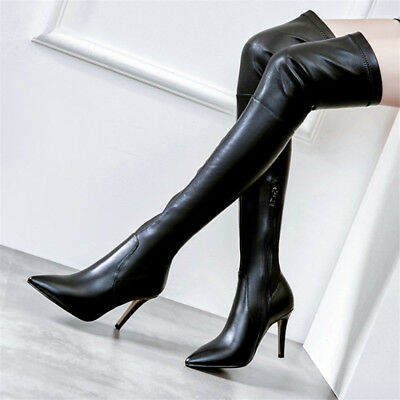 Womens Pu leather Over Knee Boots Stiletto Thigh High Heel Pointed Toe Shoes