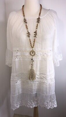 Kaftan Lace WHITE Dress Beach Cover Up Soft Cool Floaty Roomy One Size New