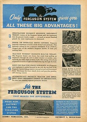 1947 Print Ad of The Ferguson System Farm Tractor Cleveland Ohio Factory