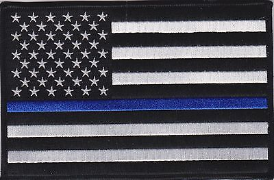 "USA Flag Blue Line 3"" Patch American Flag Thin Blue Line Patch FAST USA SHIPPING"