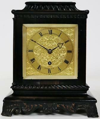 Superb Rare Antique English John Walker Fusee Pagoda Top Ebonised Library Clock