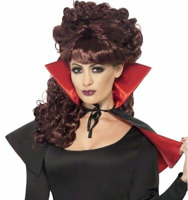 Halloween Mini Vampire Cape with High Collar - Red and Black
