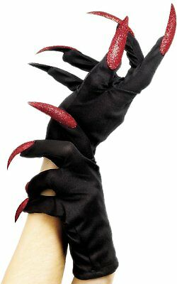 Halloween Black Witch Or Cat Gloves With Glitter Nails
