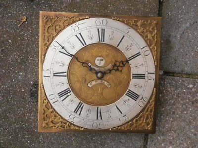 PENNY MOON 12X12 inch 30hr c1750 LONGCASE  CLOCK dial + movement