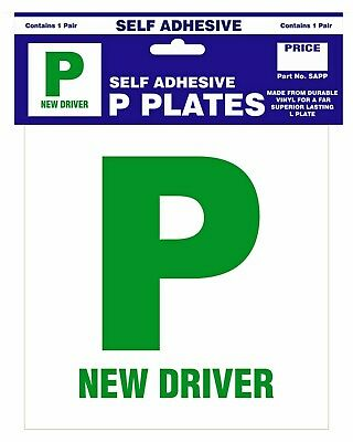 Self-Adhesive P Plates - New Driver Plates by Castle - 1 Pair