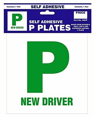 Self Adhesive P Plates Pack of 2 Stick On New Driver Stickers Castle Promotions