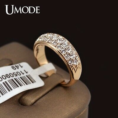 UMODE Classic Ring Rose Gold Plated Rhinestones Studded Anillos Mujer Bague 2018