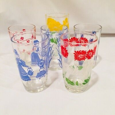 """6 VTG Swanky Swig Small Juice Glasses largest is  3 3/4"""" High Retro 1950's"""