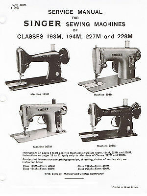 SINGER FEATHERWEIGHT SEWING Machine 40 Service Repair Manual New Sewing Machine Repair Manuals