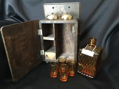 Vintage wooden old phone decanter set