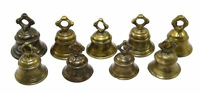 Vintage Set Of 9 Bells Indian Rare Brass Crafted Authentic Rich Patina. i9-53