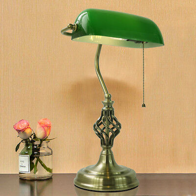 Barley Twist Antique Brass Bankers Lamp White/Green Glass Table Office Lights
