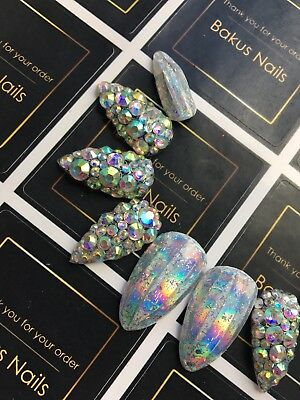 Hand Painted False Nails Stiletto Shape Holographic Glitter Diamond Press On Nai