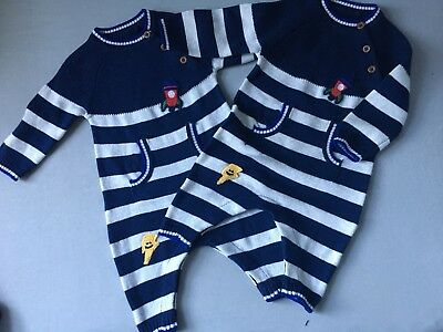 Twin Baby Boy 0-3 Months TU Sainsburys Knitted Spaceship Rocket Outfit