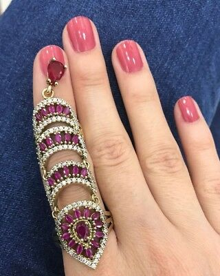Turkish Handmade Jewelry Sterling Silver 925 Ruby Ring and Earring Ladies 7 8 9