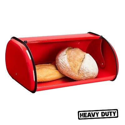 Large Stainless Steel Bread Box Storage Metal Bin Kitchen Food Container Red