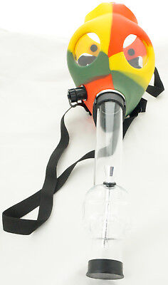 Silicon Gas Mask Bong Hookah Smoking Solid Rasta Color Mask- USA SELLER