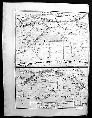 1750 Longguan Hebei China Mauer wall map plan Kupferstich antique print Bellin