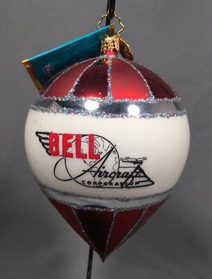 christopher radko christmas ornament bell helicopter red white into tomorrow