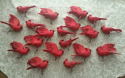 Feathered Bird lot of 19 Fake crafts/ornaments Red Cardinal Accessories