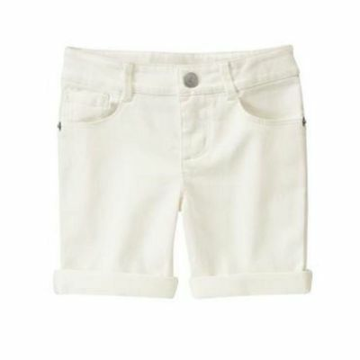 NWT Gymboree Girls White Shorts Size 7 Adjustable Waist Solid Basic