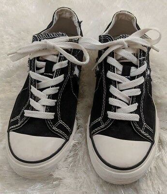 Converse One Star Womens Size 7.5 Sneakers Vintage Black Low Canvas 503639FT