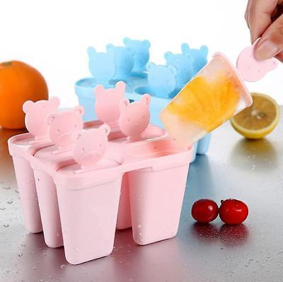6 Cell Reusable Popsicle Molds Ice Pop Moulds Ice Lolly Maker & Base 3 COLORS