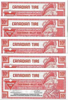 LOT of 5 ~ CANADIAN TIRE 2007 - 10 Cent Coupons; Mint - FREE SHIPING Canada & US