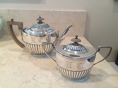 Antique Sterling Silver Tea Pot & Sugar Bowl1894 Charles Stuart Harris 708 Grams