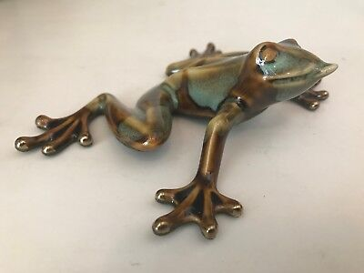 Green Tree Golden Pond Collection Ceramic Frog In Original Box