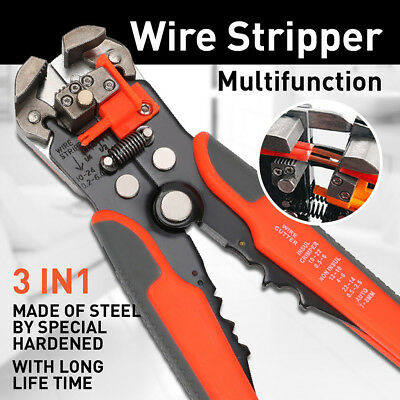 Automatic Cable Wire Crimper Crimping Tool Stripper Adjust Plier Cutter 24AWG BO