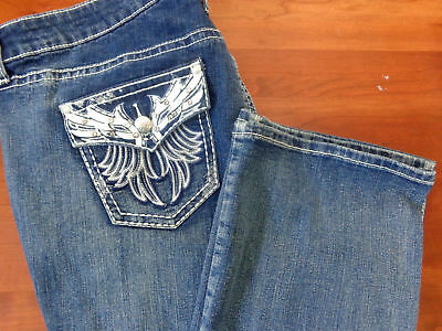 ✅ NEW! SIMPLY EMMA JEANS Embroidered Bling Pockets Aztec Bootcut VARIETY SIZES