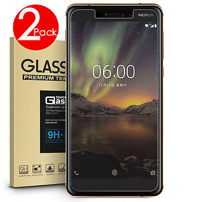 2 PACK Premium 9H Tempered Glass Screen Protector for Nokia 6.1/ 5.1 Plus / 7.1