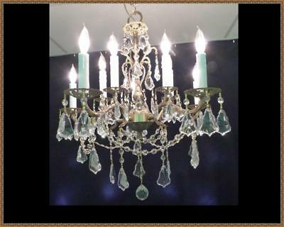 Vintage French Brass Chandelier Amazing Leaded Crystals Gorgeous Light Fixture!