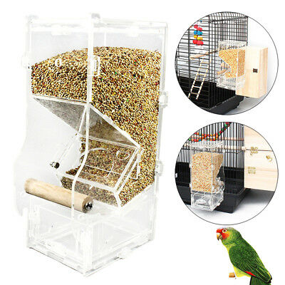 Acrylic Clear Pet Bird Seed Food Feeder For Parrot Cockatiel Canary Cage Toy New