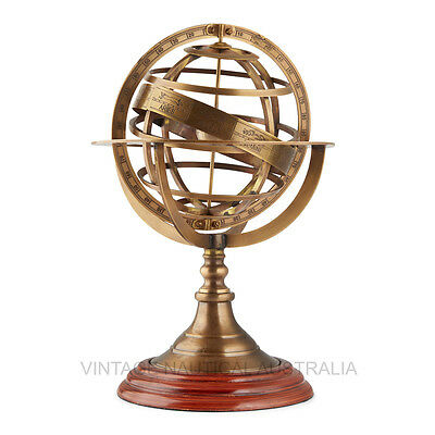 World Globe-Brass Armillary Zodiac-Vintage Nautical Australia