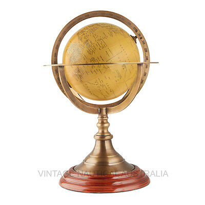 Vintage Nautical World Globe Coordinates Brass Ring  Antique Finish Wooden Base