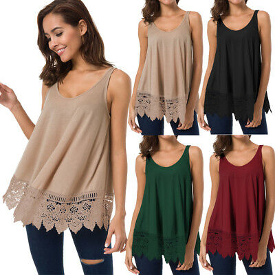 Fashion Women's Sleeveless Loose Vintage Solid Lace Tank Top Vest Blouse T-Shirt