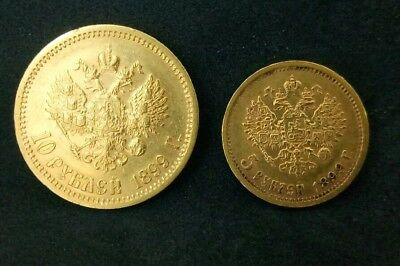 Lot,1899Russia 10 Rubles(ЭБ)5 Rouble(ФЗ) Gold Coin Imperial Russian Nicholas II