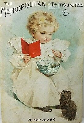 1899 Metropolitan Life Insurance Co Baby Reading ABC To Cat Kitten Trade Card