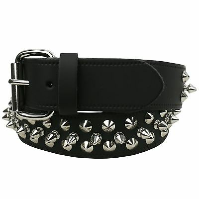 Mens Cheap 38mm 2 Row Spike Studded With Removable Buckle Belt D105