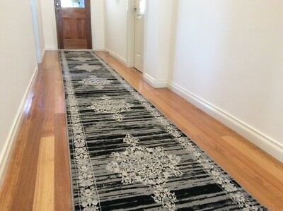 Dalia Grey Black Hallway Runner Traditional Hall Runner Rug 5 Metres Long