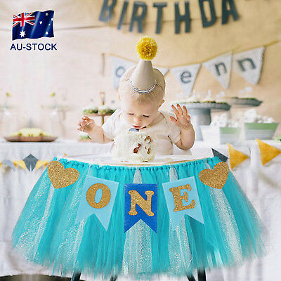 Glitter 1st Birthday One Banner Bunting Baby Shower High Chair Party Decorations