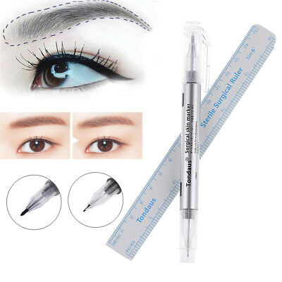 Skin Marker Tattoo Microblading Eyebrow Pen With Measure Measuring Ruler Tool