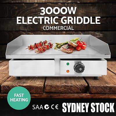 3000W Commercial Electric Griddle Plate BBQ Grill Plate Stainless Steel @Q