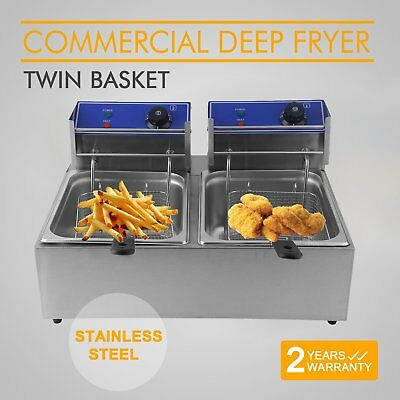 Twin Basket 20L Electric Deep Fryer Frying Cooker Fry Commercial Kitchen Chip @Q