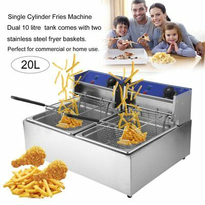 5 Star Chef Commercial Electric Deep Twin Fryer Frying Basket Chip Cooker Fry @Q