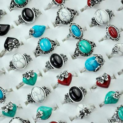 8Pcs Ancient Silver Plated Stones Rings Rhinestones Women Wholesale Jewelry BFP