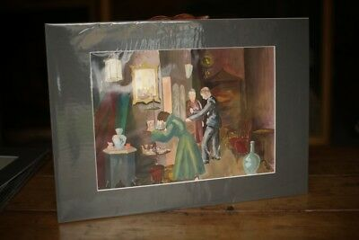 Mid 20th Century College artwork- Painting, customers in antique shop